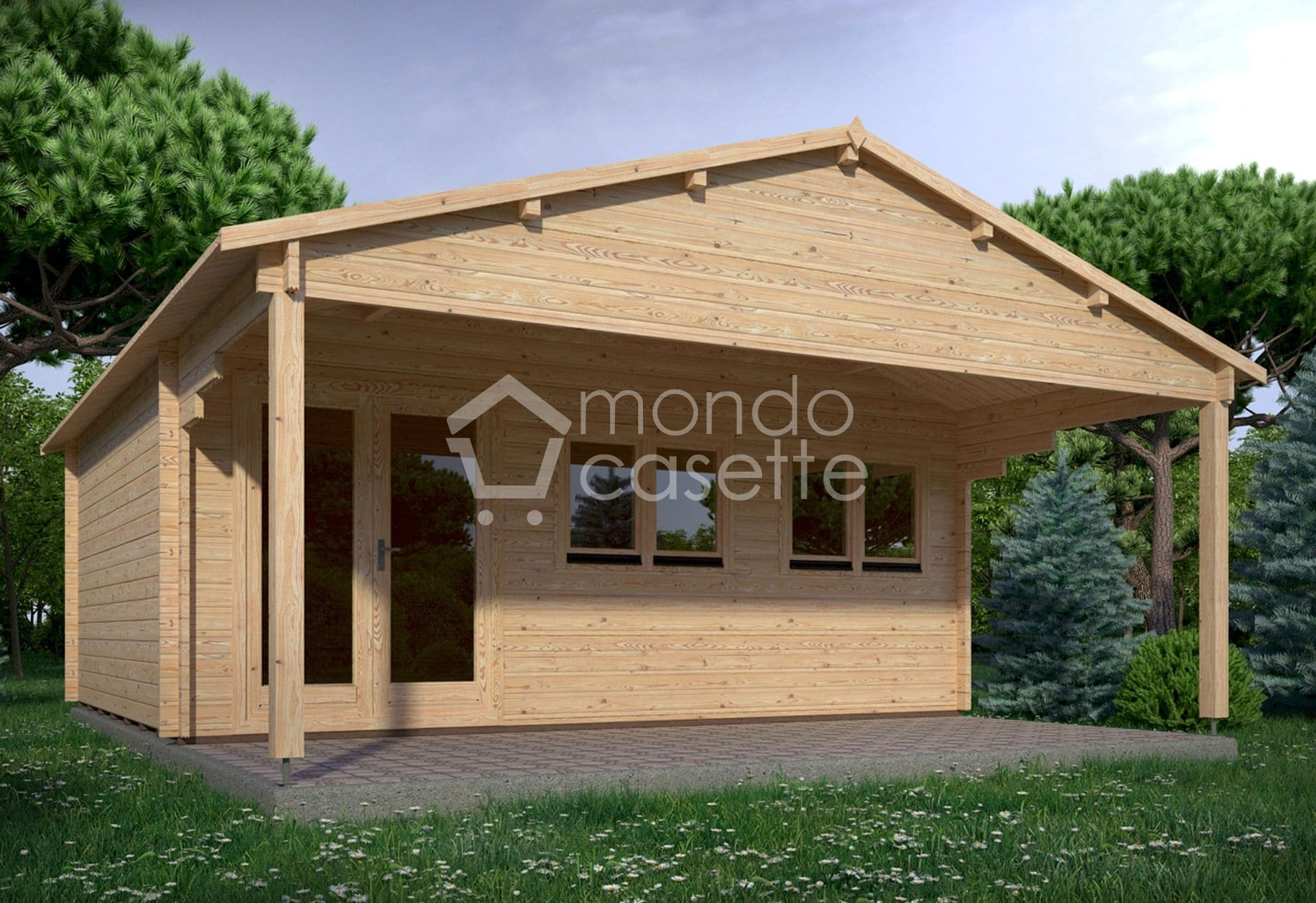 Casetta in legno Trento - 6x5 - pareti da 45 mm