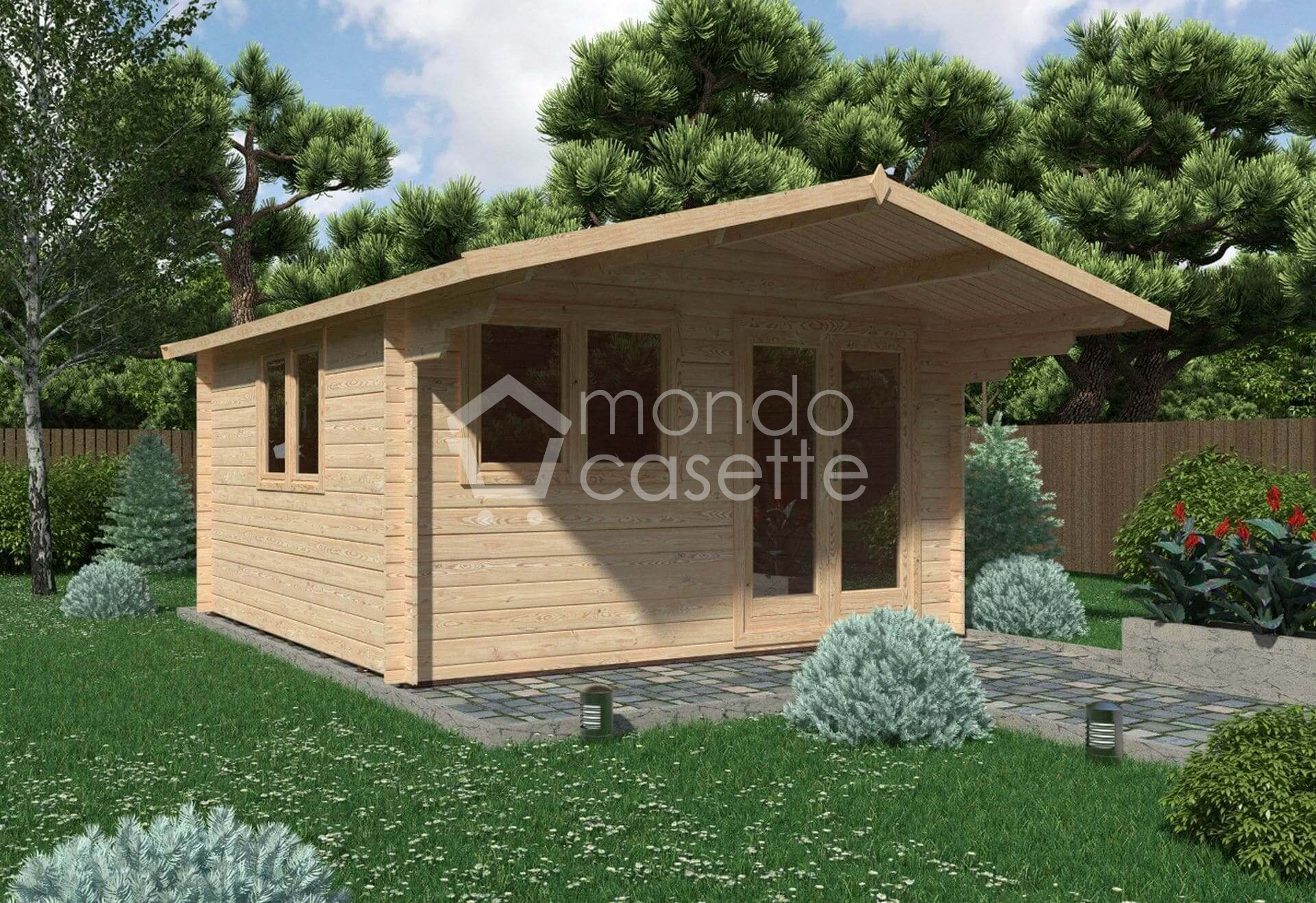 Casetta in legno Bologna - 4x4 - pareti da 28 mm