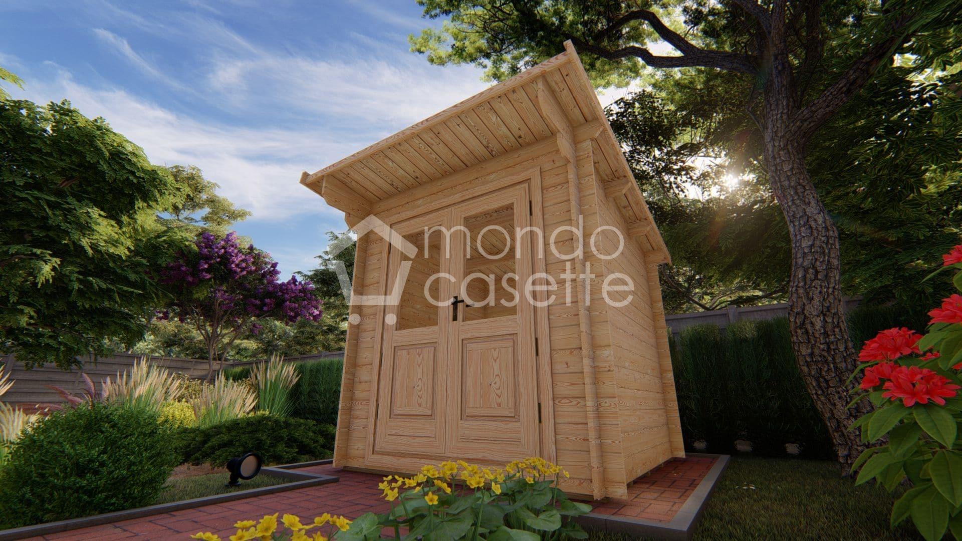 Casetta in legno Minija da giardino - 2x2 - pareti da 28 mm