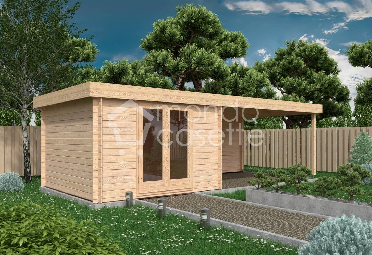 Casetta in legno Yasmina - 7,46x3,30 - pareti da 28 mm