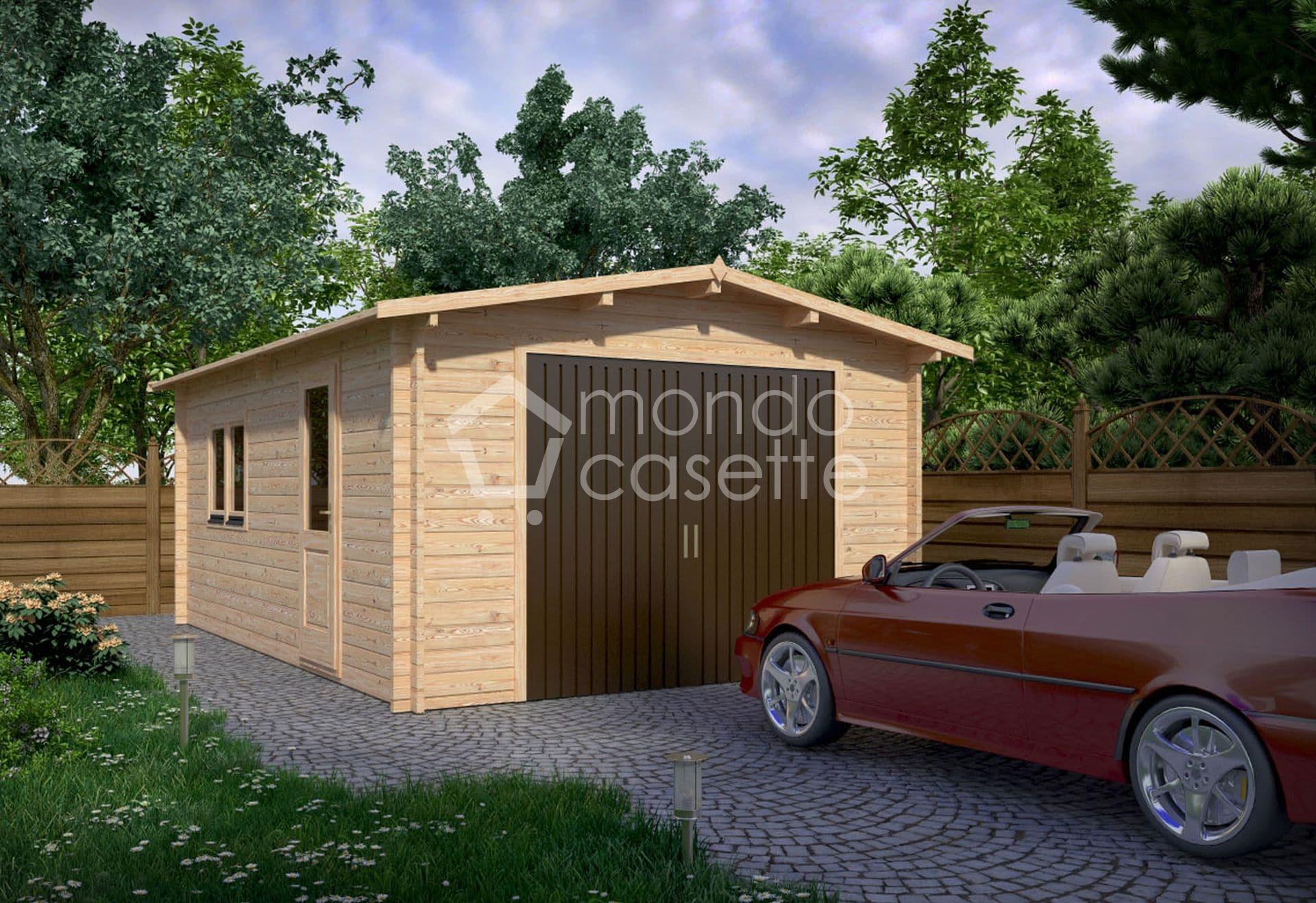 Garage prefabbricato in legno - 6x4 - con pareti da 45 mm