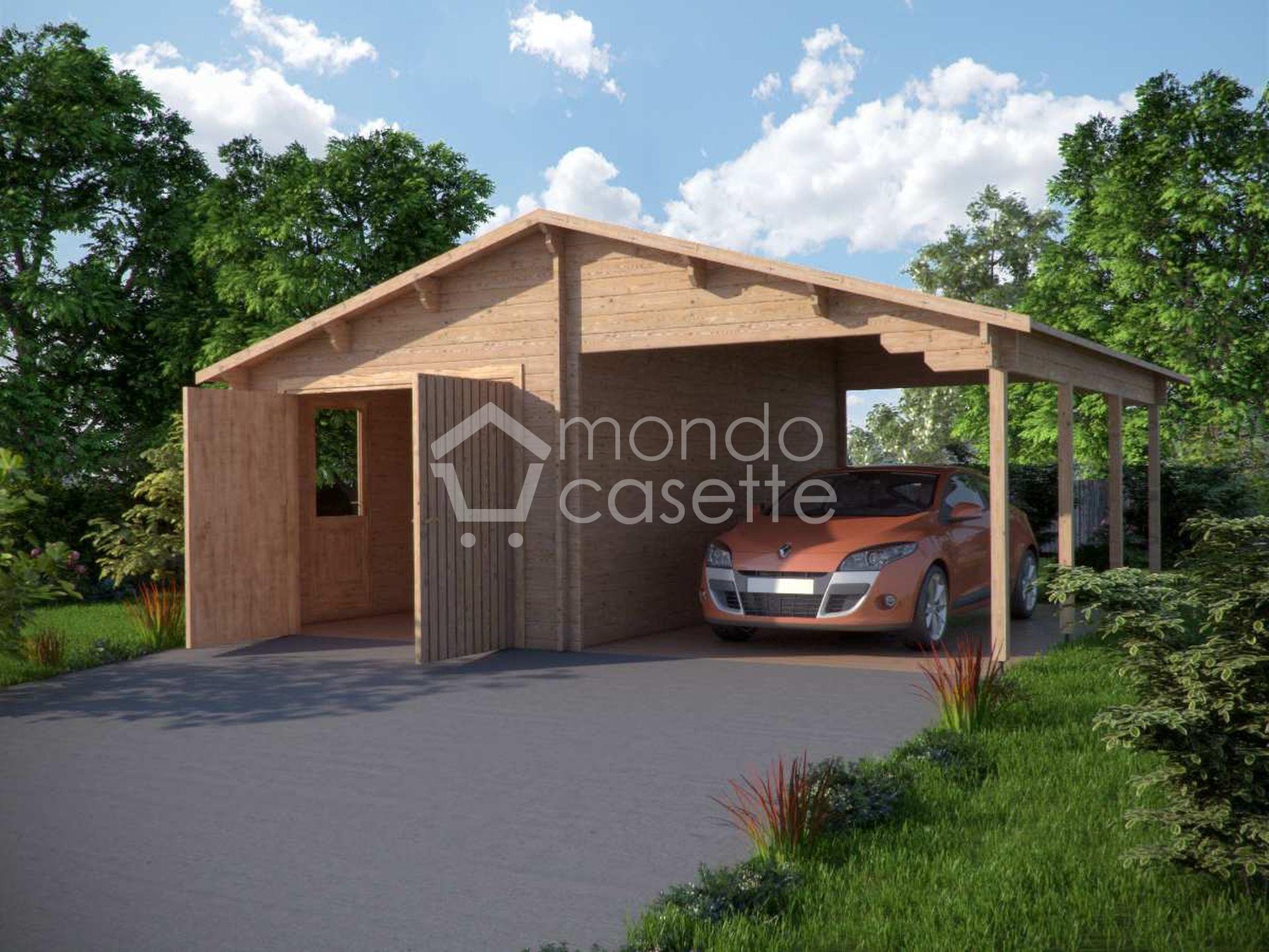 Garage in legno 4 con tettoia e vano attrezzi