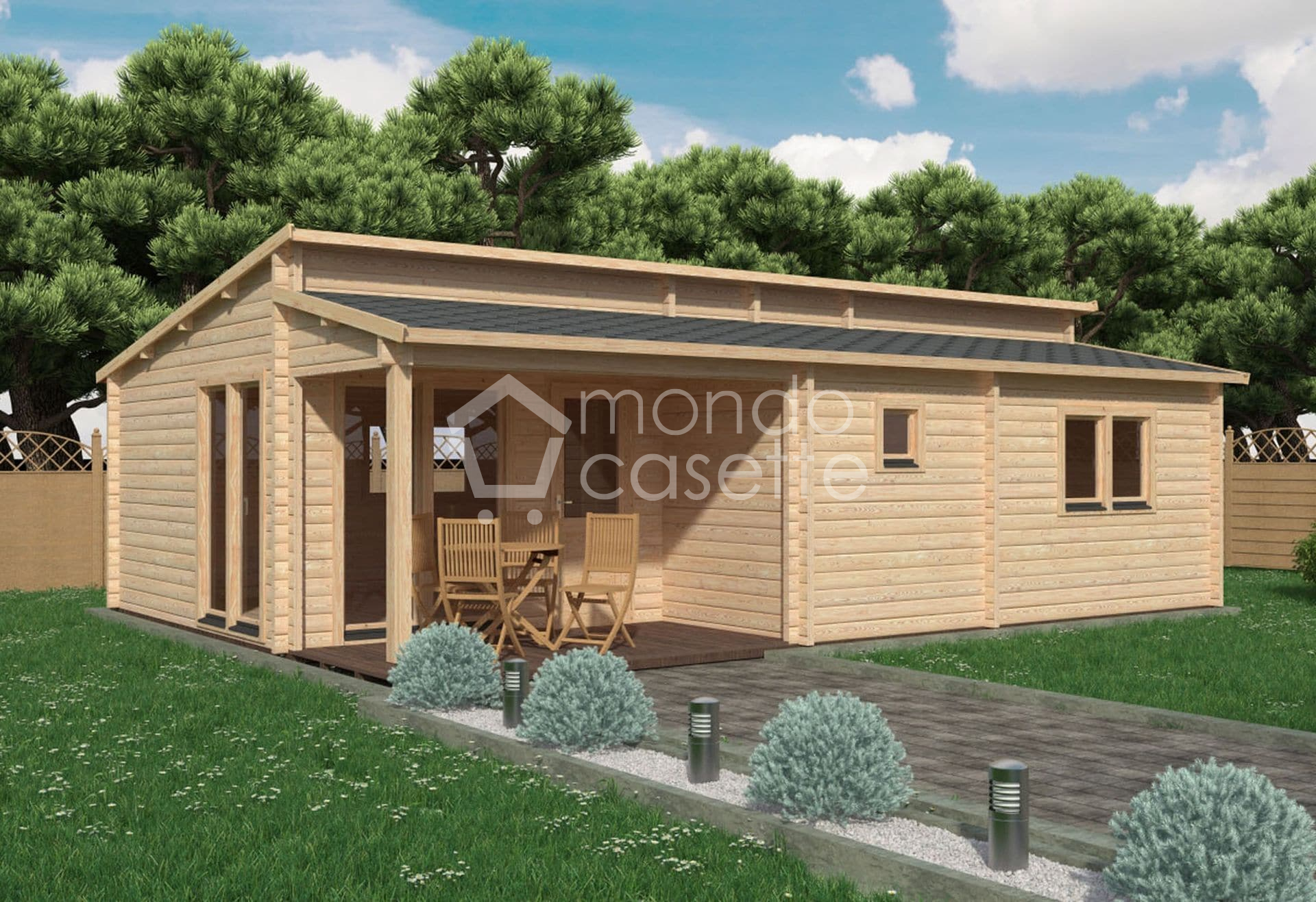 Bungalow in legno Iberica T2 - 8,8×6,3 - pareti da 70 mm