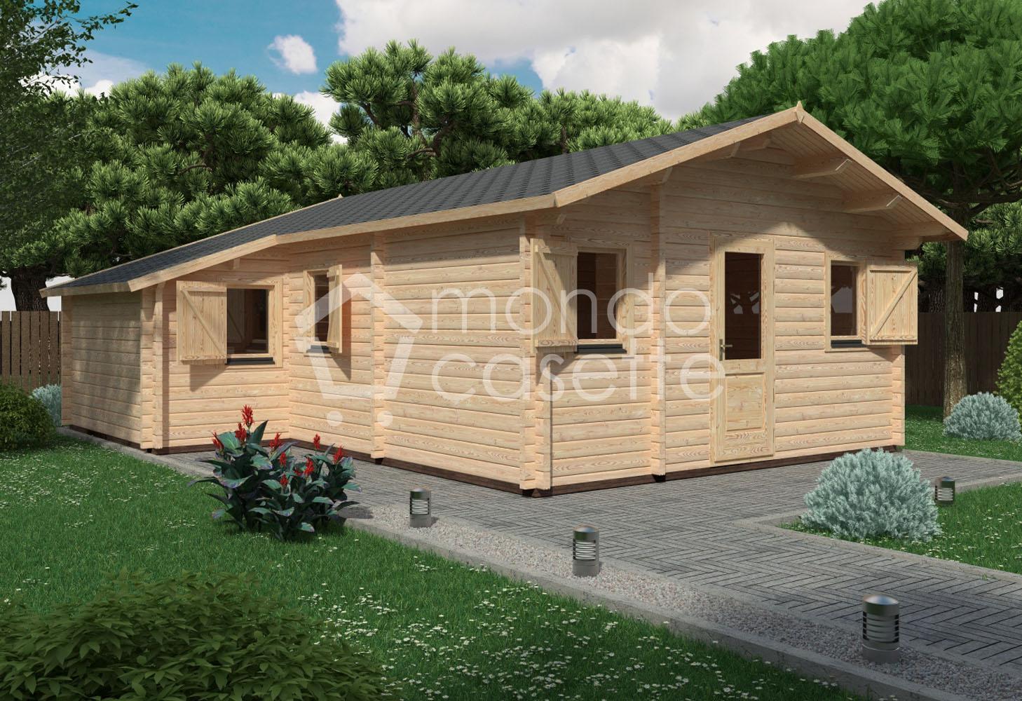 Bungalow in legno Den - 7,80×6,5 - pareti da 70 mm