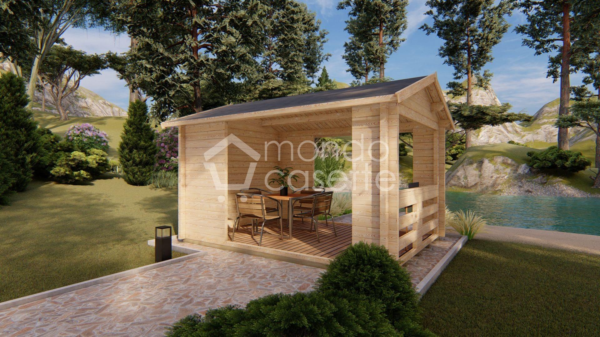 Gazebo in legno Pave3 - 3x4 - pareti da 70 mm