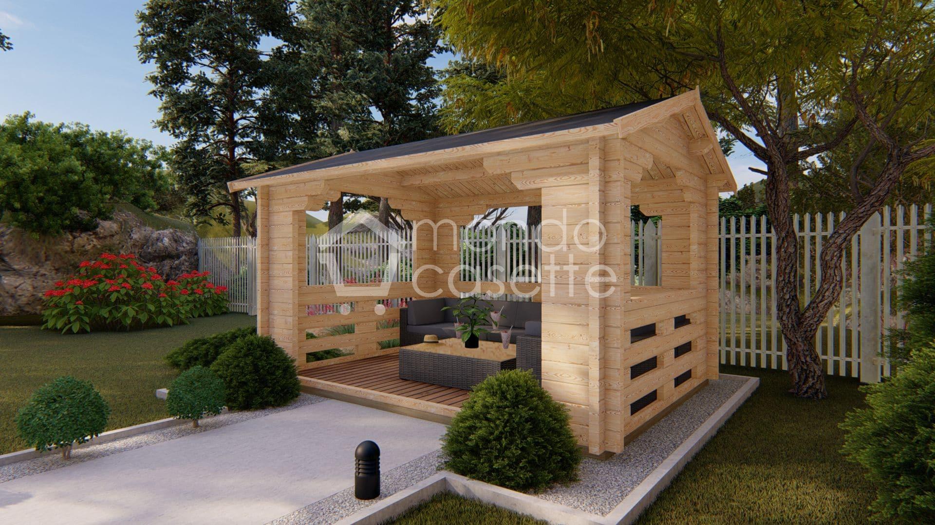 Gazebo in legno mod. Pave4 - 3X4 - pareti da 70 mm
