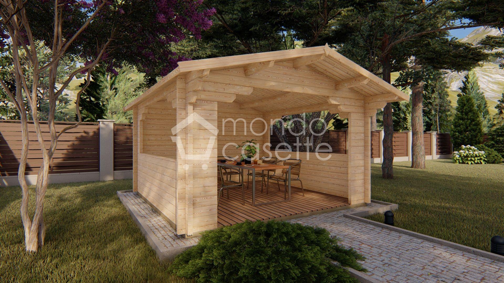 Gazebo in legno Pave2 - 4x4 - pareti da 70 mm
