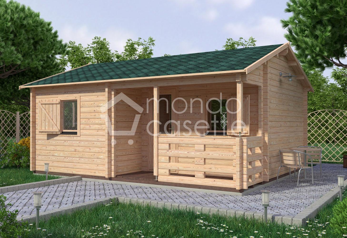 Bungalow casa in legno San - 6,1×4,7 - pareti da 70 mm