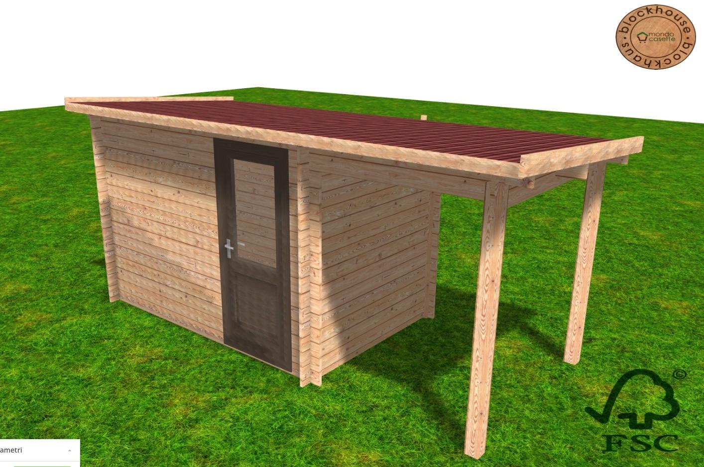 Casetta in legno Pado - 4,5x2 - pareti da 28 mm