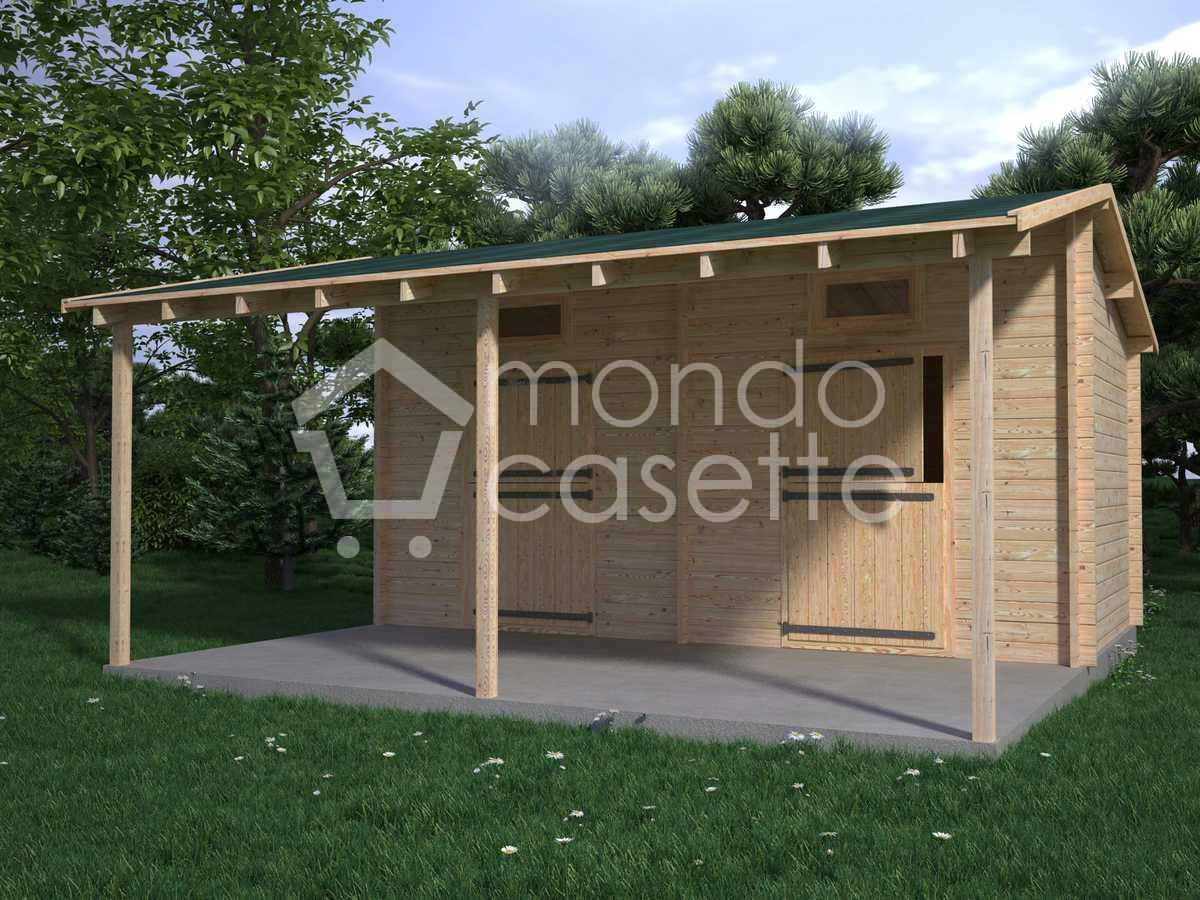 Box cavalli Siena 2 - 6x6 - pareti da 45 mm (+ porticato)