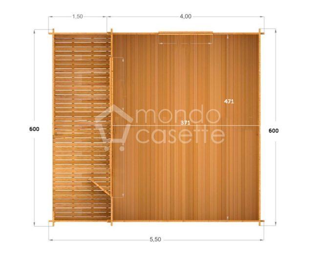 Casa di legno Venta 6x4 45 mm pianta